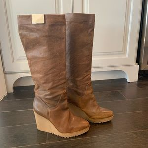 Tall Leather Wedged Boots